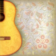 abstract grunge music background with guitar and floral ornament