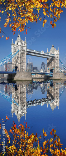 Tower Bridge with autumn leaves in London, England