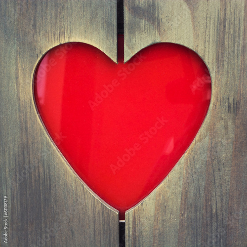 Wooden photo frame with heart shaped