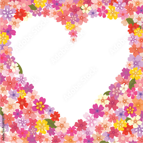 Floral heart-shaped frame