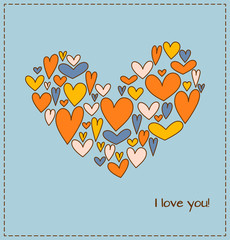 Greeting card with heart composed of a plurality hearts