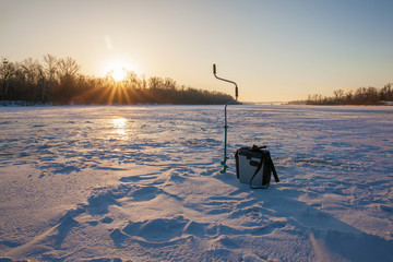 Ice fishing scene
