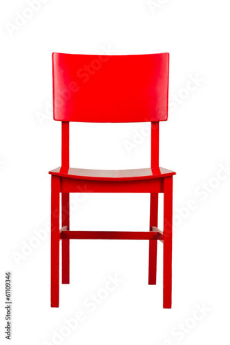 Red wooden chair isolated on white background