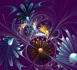 Flower background. Blue, violet and gray palette. Computer gener
