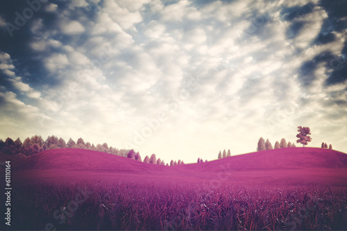 Surreal dramatic landscape, ultraviolet foliage