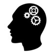 Human head silhouette with set of gears