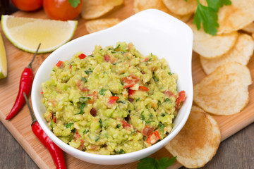 snack - Mexican sauce guacamole and chips, top view