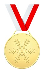 Medal with white red ribbon for Winter games