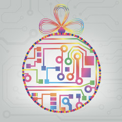 Colorful circuit christmas circle background