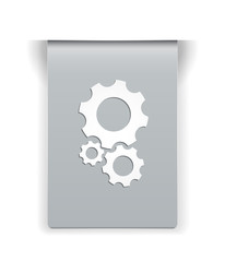 the glossy label with cogwheel icon