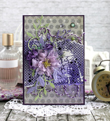 Grey, purple and aqua handmade card with a bouquet of flowers