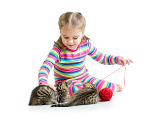 child girl playing with kittens isolated on white background