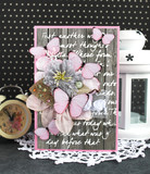 Grey and pink handmade card with tender butterflies