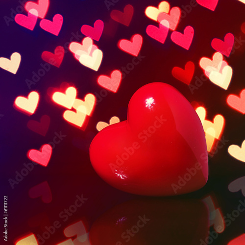 Valentine Red Heart over Bokeh in dark. Valentines Day Card