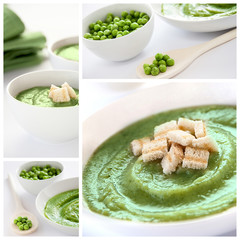 Vegetarian soup collage