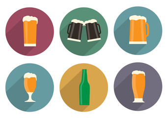 Flat beer icons with long shadow
