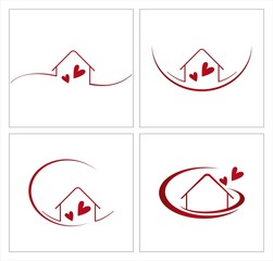 Home , love, architecture , icon, business logo