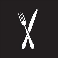 crossed fork over knife - vector