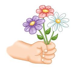 mano con fiori