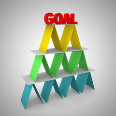 3d render of colorful pyramid with word goal on on the top.