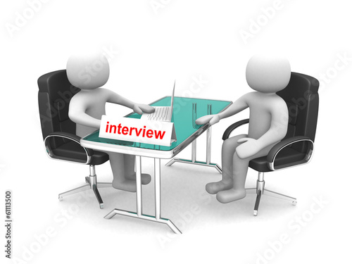 3d people - men, person - application or interview - talking tog