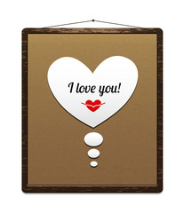 Board in a wooden frame with congratulation