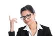 Business Frau isoliert mit dunklen Haaren und Zeigefinger