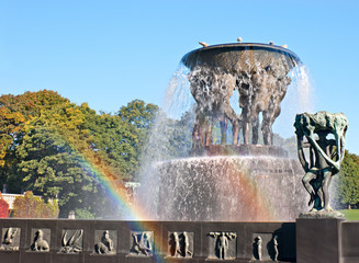 two rainbows in fountain