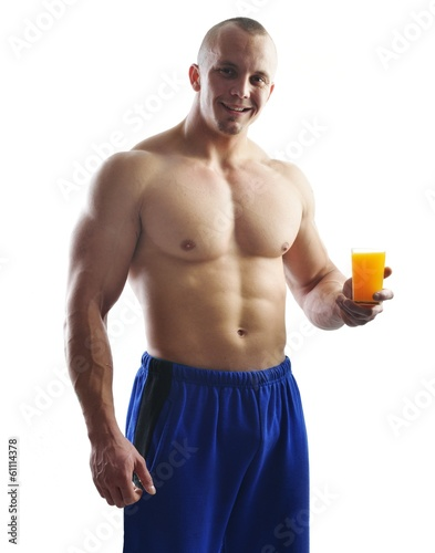 Body builder champion posing in studio