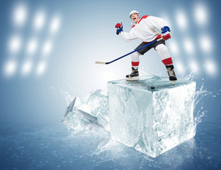 Hockey player on ice cube