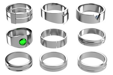 realistic 3d render of rings