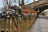 Charles bridge in Prague with love locks, Czech republic