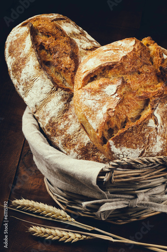 Traditional bread in basket
