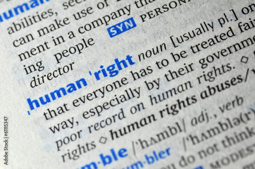 Human right word on book