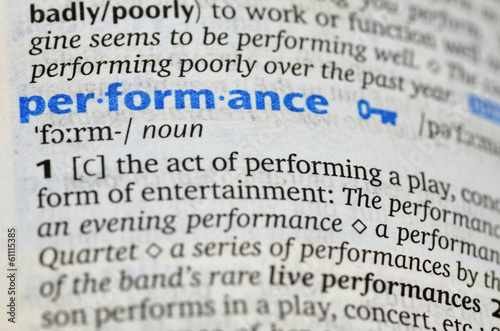 Performance word on book