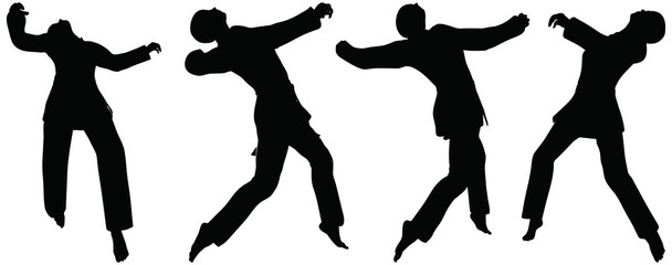 silhouettes of men and women in fist fight karate poses