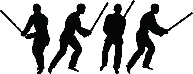 silhouettes of men and women in sword fight karate poses