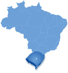 Map of Brazil where Rio Grande do Sul is pulled out