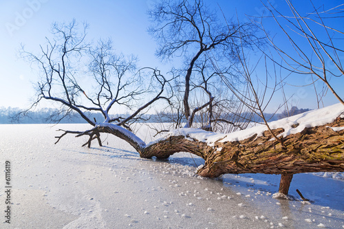 Leinwandbild Motiv Winter scenery of frozen lake in Poland