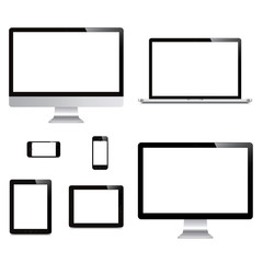 laptop, smartphone, tablet, computer, display isolated on white