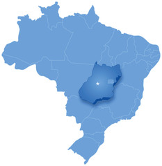 Map of Brazil where Goias is pulled out