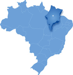 Map of Brazil where Maranhao is pulled out
