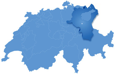 Map of Switzerland where St. Gallen is pulled out