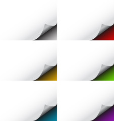 Abstract Turned Page Background Set
