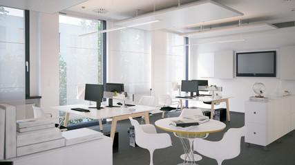small office - kleines, schickes Büro in weiß