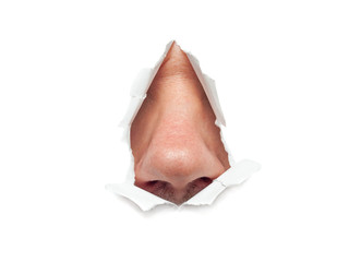 The human nose sticks out through a hole