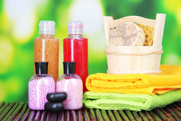 Spa setting on bamboo mat, on bright background