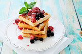 waffles with summer berries