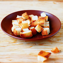 bread croutons on a plate