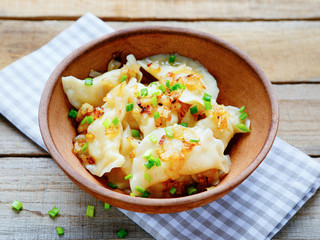 dumplings with potatoes in a bowl